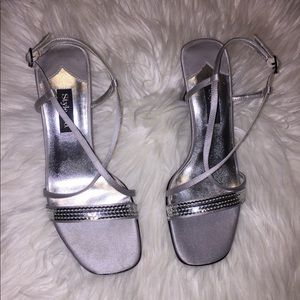 Style and Co. Gloria sequined silver slingbacks